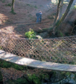 Restored chain bridge over the Ystwyth Gorge with walkers in woodland on the far side