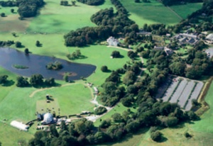 Aerial photograph of Faenol Estate including lake and extensive parkland
