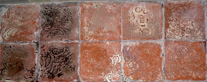 Encaustic Floor Tiles With Most Of The Pattern Worn Away