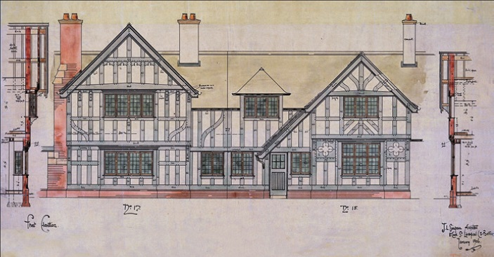 1906 working drawing mainly showing the design for a timber-framed house