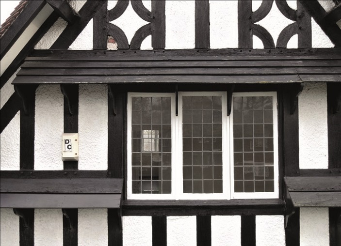 Close-up of a timber-framed gable in Port Sunlight