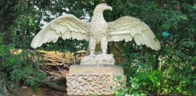 Restored artificial stone eagle designed by Felix Austin