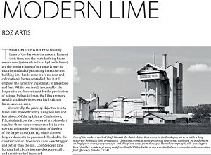 The Building Conservation Directory 2020 edition, article on modern lime