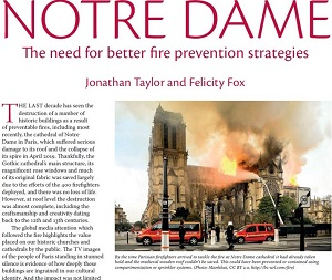 Historic Churches 2019 edition, article on fire prevention strategies at notre dame cathedral