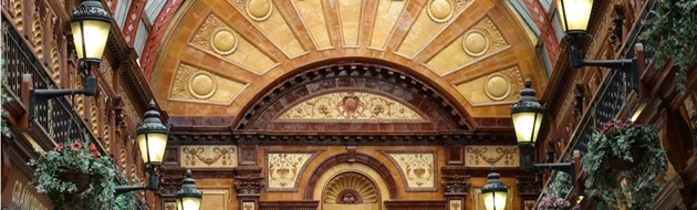 Title image shows fine terracotta in the Central Arcade, Newcastle-upon-Tyne - lush