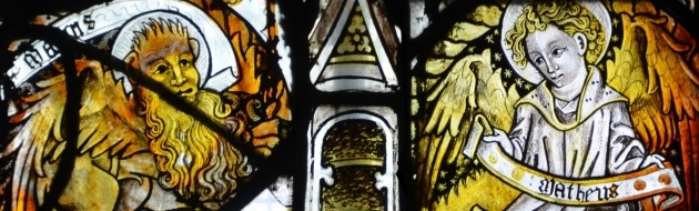 Medieval stained glass at All Saints Church, Gresford, North Wales