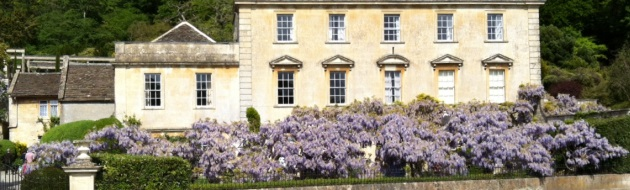 Iford Manor near Bath with wysteria in bloom